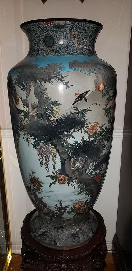 Lg Museum Quality Cloisonne Vase 19 C Meiji Pd