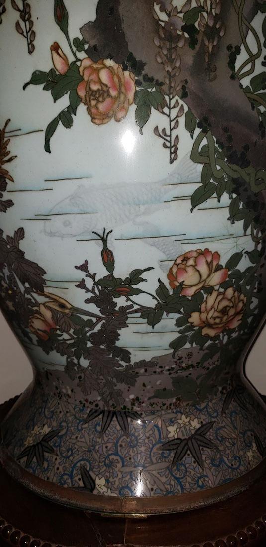 Lg Museum Quality Cloisonne Vase 19 C Meiji Pd - 2
