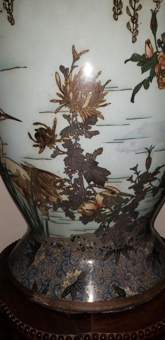 Lg Museum Quality Cloisonne Vase 19 C Meiji Pd - 5