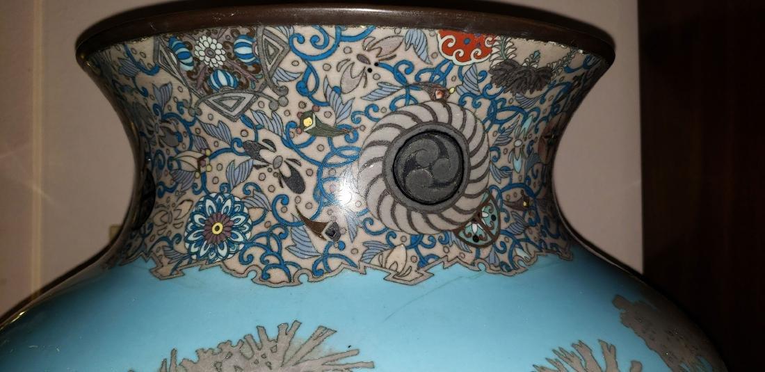 Lg Museum Quality Cloisonne Vase 19 C Meiji Pd - 8