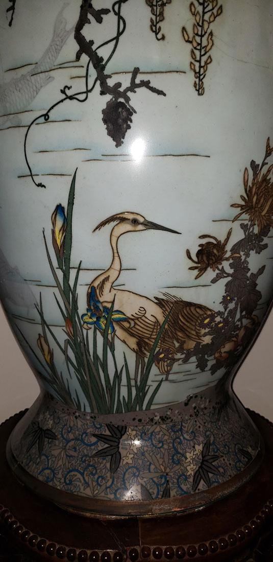 Lg Museum Quality Cloisonne Vase 19 C Meiji Pd - 9