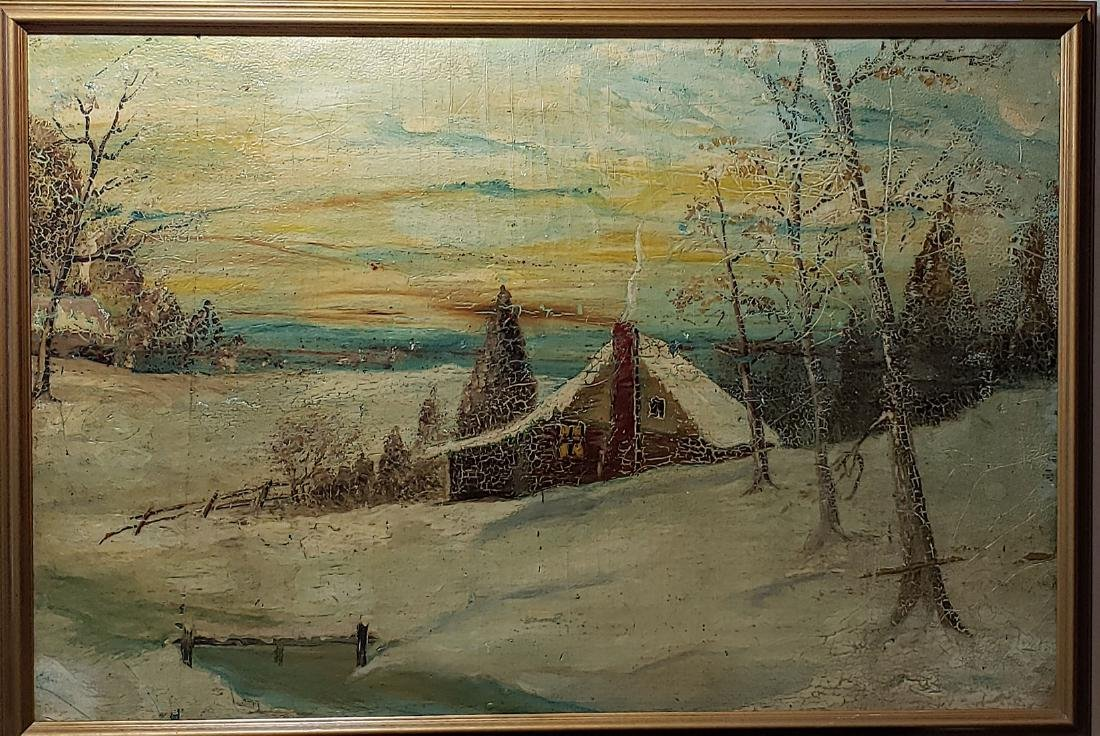 Early Snow Landscape Painting unsigned