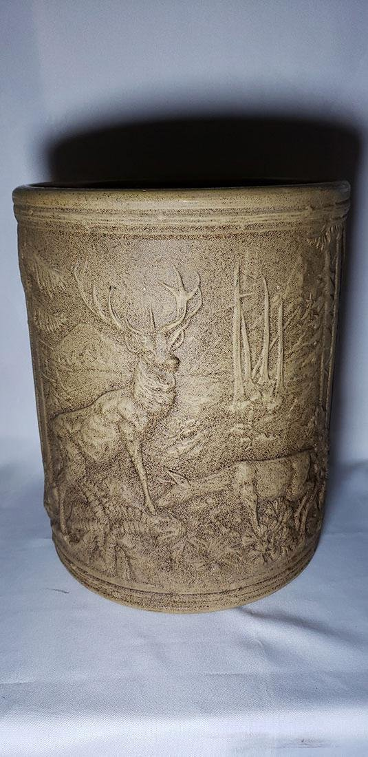 A Fine Yellow Ware Redwing Crock w/ Stags