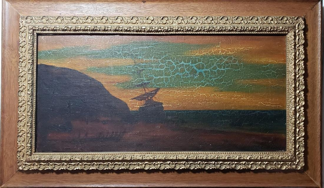 """Albert P Ryder Seascape """"Wrecked"""" Painting Signed"""