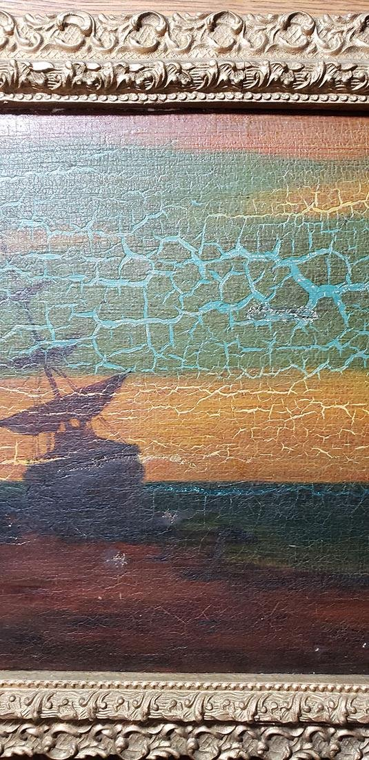 """Albert P Ryder Seascape """"Wrecked"""" Painting Signed - 4"""