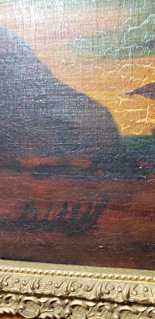 """Albert P Ryder Seascape """"Wrecked"""" Painting Signed - 9"""