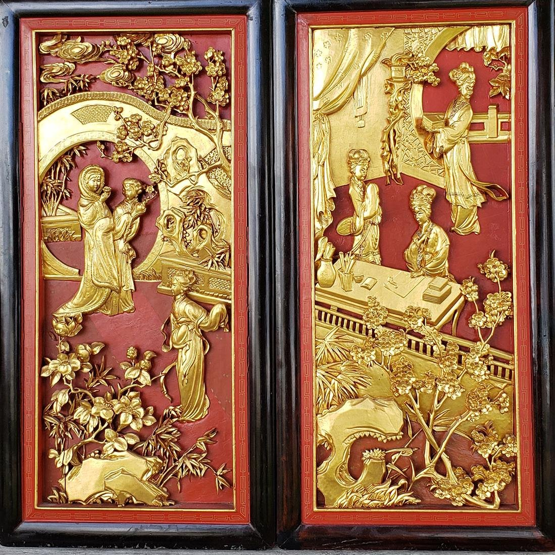 Pair Chinese Gilt & Lacquered Carved Wood Panels