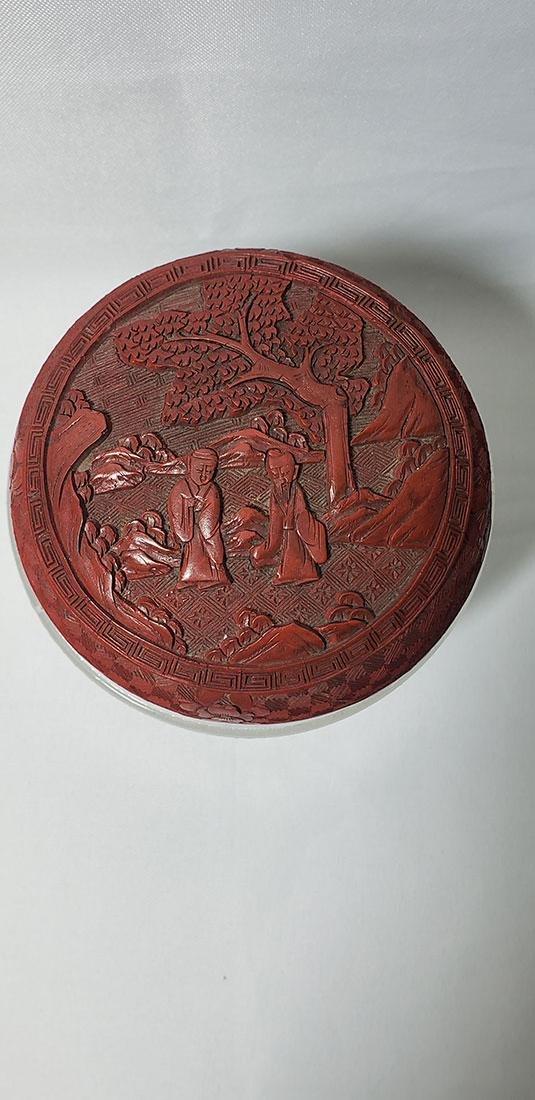 Antique Chinese Cinnabar Box w/ Figures 19 c