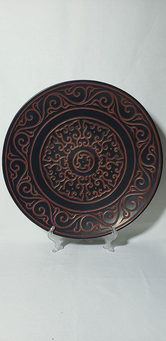 A Fine Chinese Carved Guri Charger w/ Mark