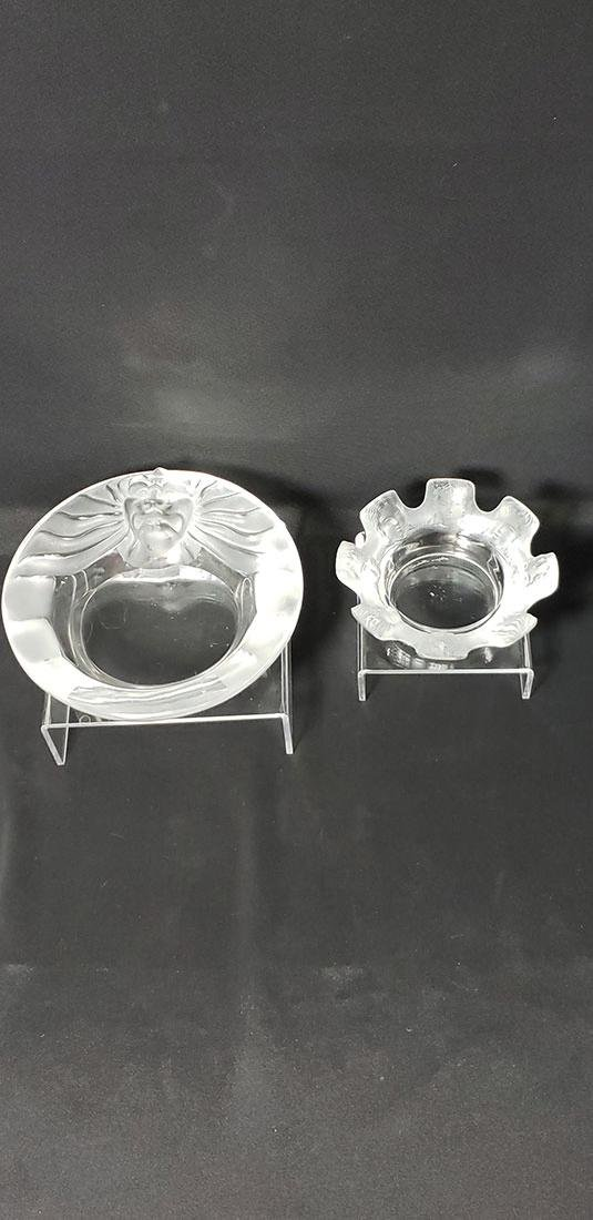 Lot 2 Signed Art Glass  Lalique Ashtrays