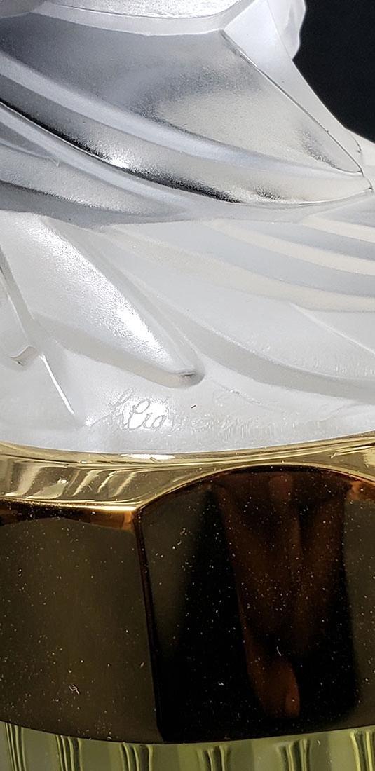 Signed Art Glass Lalique Perfume Bottle - 4