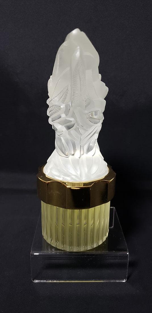 Signed Art Glass Lalique Perfume Bottle - 8