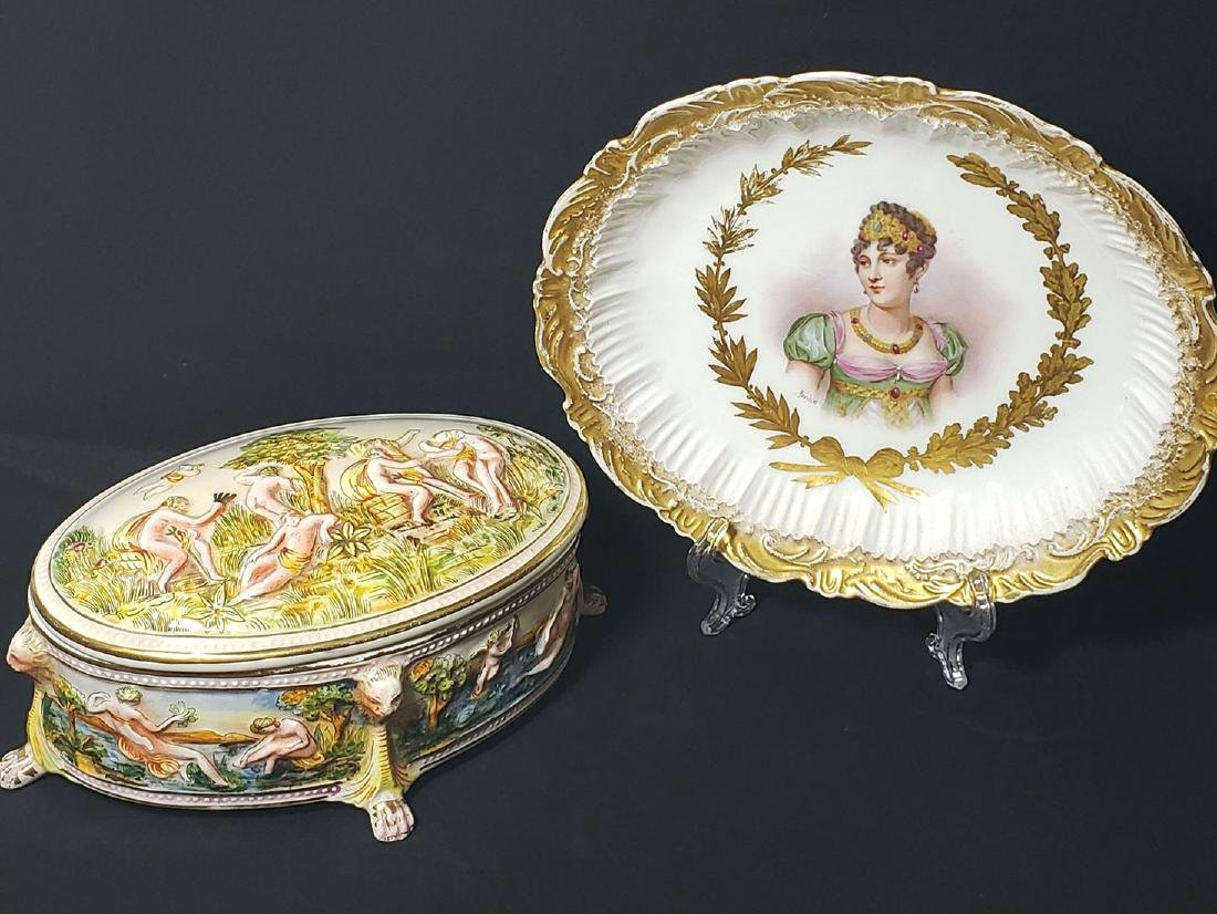 Antique Capodimonte & Sevres Plate / Bowl