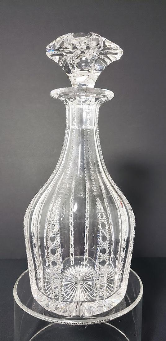ABP Libbey Cut Glass Decanter w/ Stopper Signed 19 c