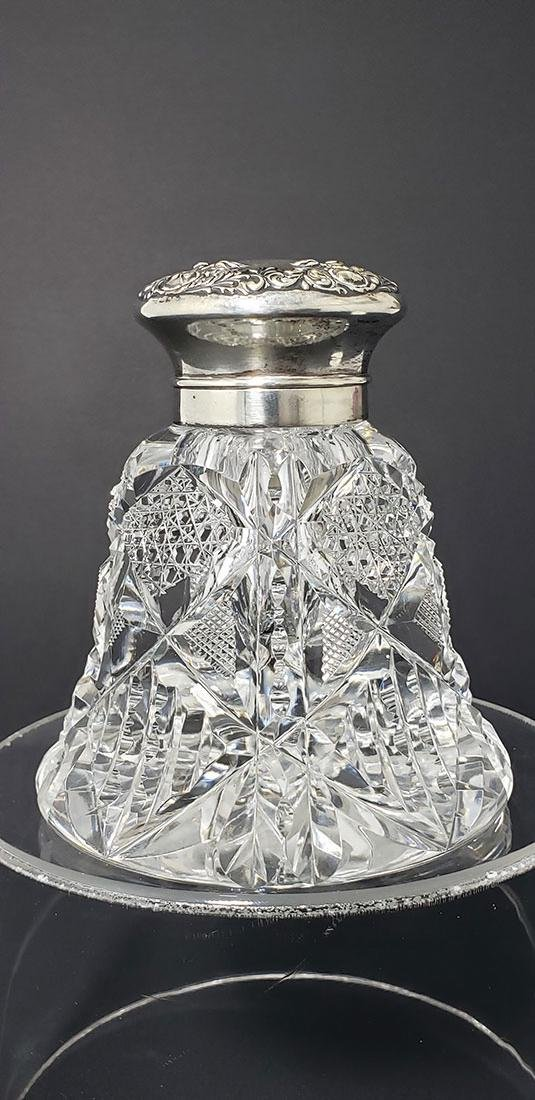 Large ABP Wilcox Signed Cut Glass & Sterling Inkwell