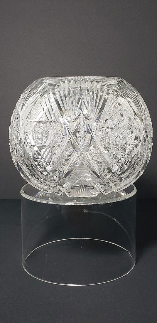 ABP Libbey Imperial Pattern Rose Globe Vase Signed