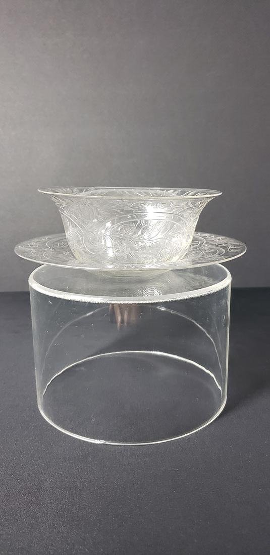 ABP Rock Crystal Polished Engraved Bowl w/ Plate Signed