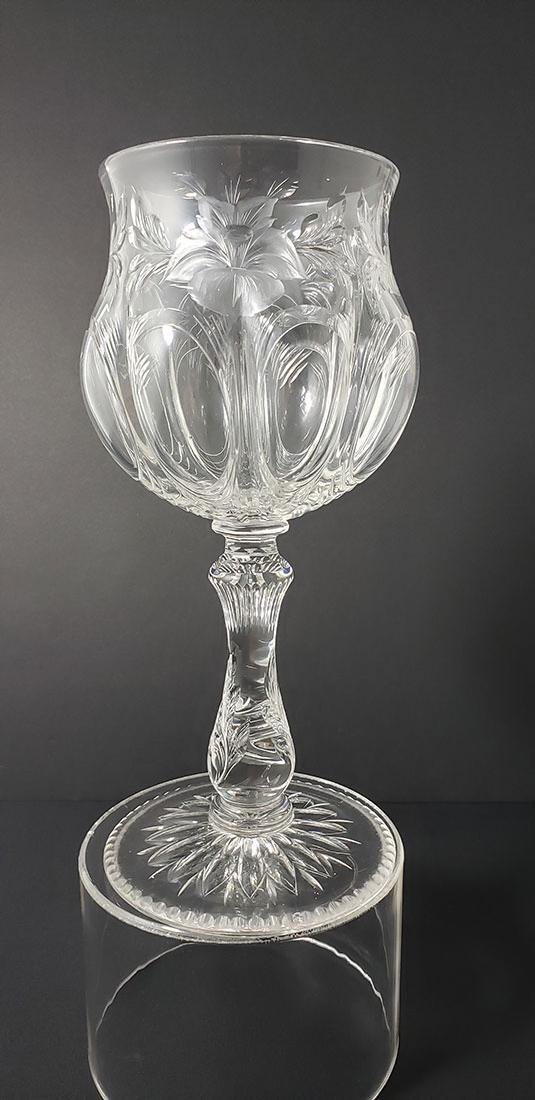 American Brilliant Period Engraved Cut Glass Chalice