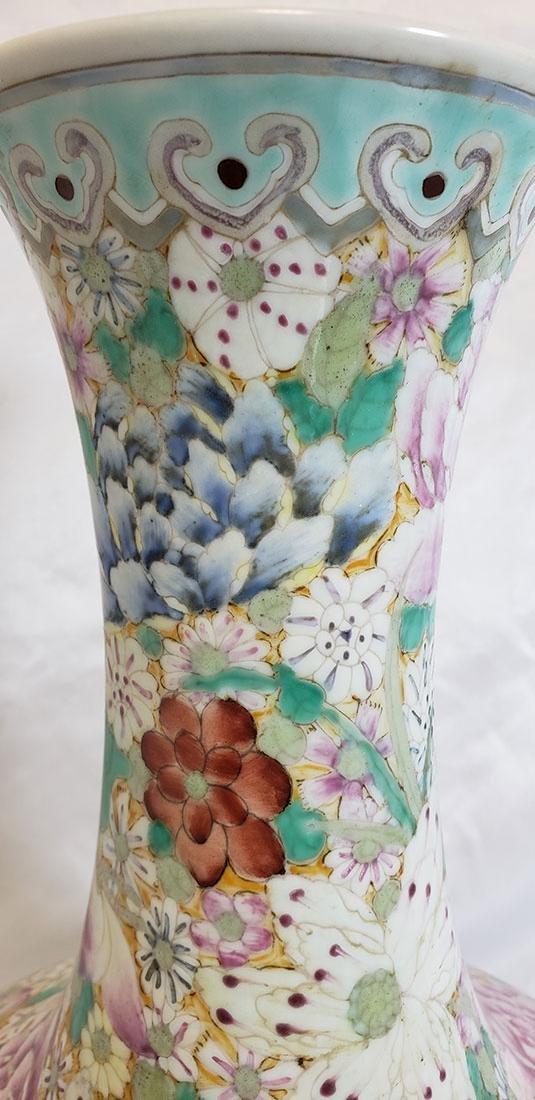 A Fine Chinese Famille Rose Millifleur  Vase 19 c - 9