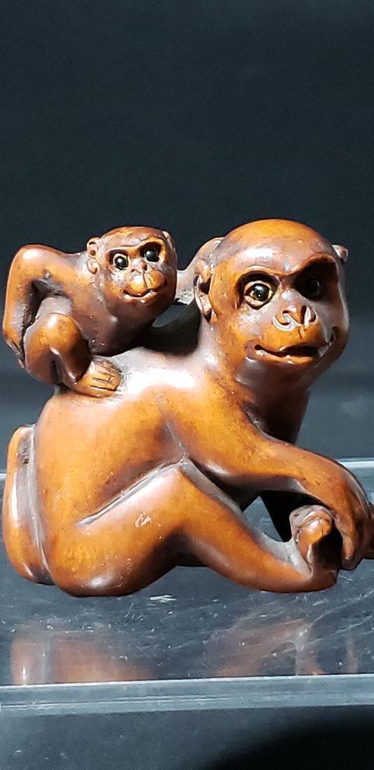 Carved Wooden Monkey Netsuke Signed Meiji Pd
