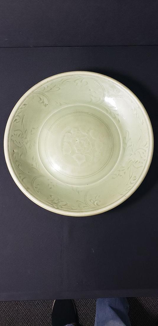 A Chinese Lonquan Kiln Celadon Charger Yuan Dynasty
