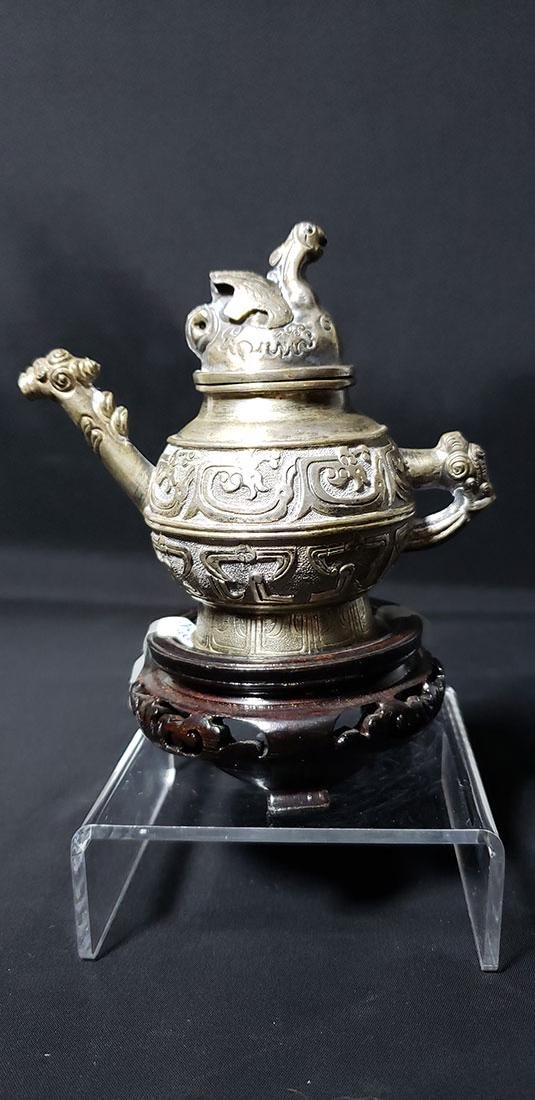 Chinese Silver Teapot Signed