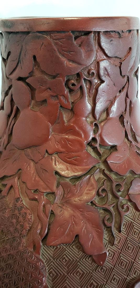 Lg Finely Carved Chinese Cinnabar Gourd Vase 19 C Mark - 2