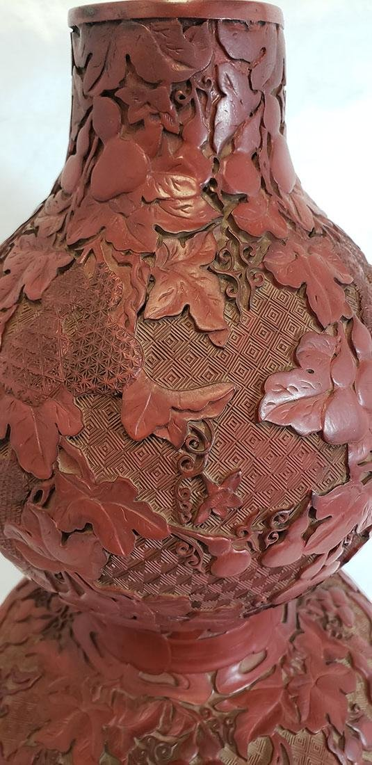 Lg Finely Carved Chinese Cinnabar Gourd Vase 19 C Mark - 3