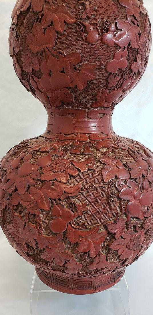 Lg Finely Carved Chinese Cinnabar Gourd Vase 19 C Mark - 5