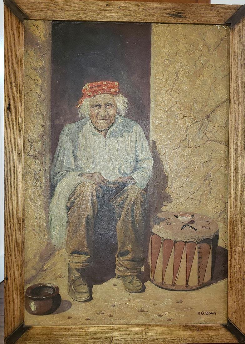 R.G. Bonin Indian Portrait Painting 1900-90 OHIO