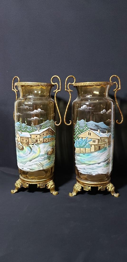 Pair Of Enamel Painted Glass Vases Mounted 19 Century