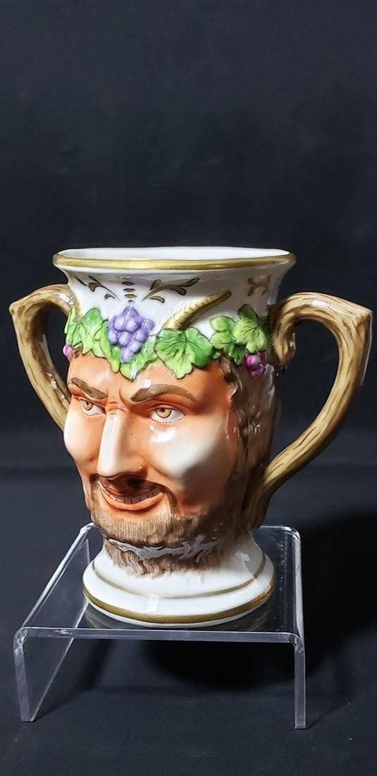 "Antique Porcelain Cup Of Satyr""s Face 19 c Sitzendorf - 3"