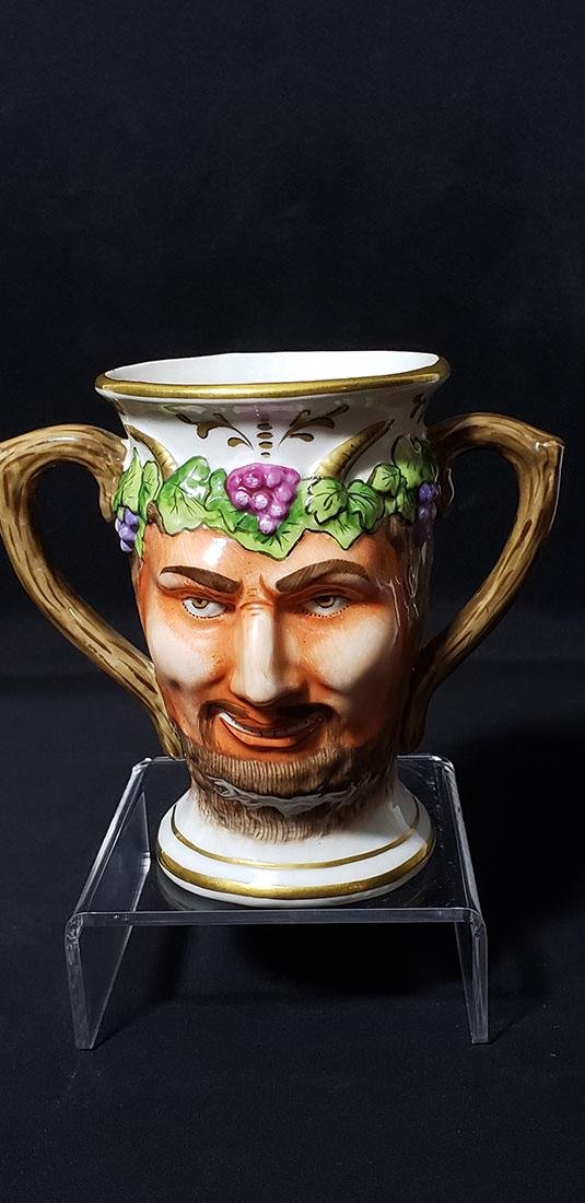 "Antique Porcelain Cup Of Satyr""s Face 19 c Sitzendorf - 6"