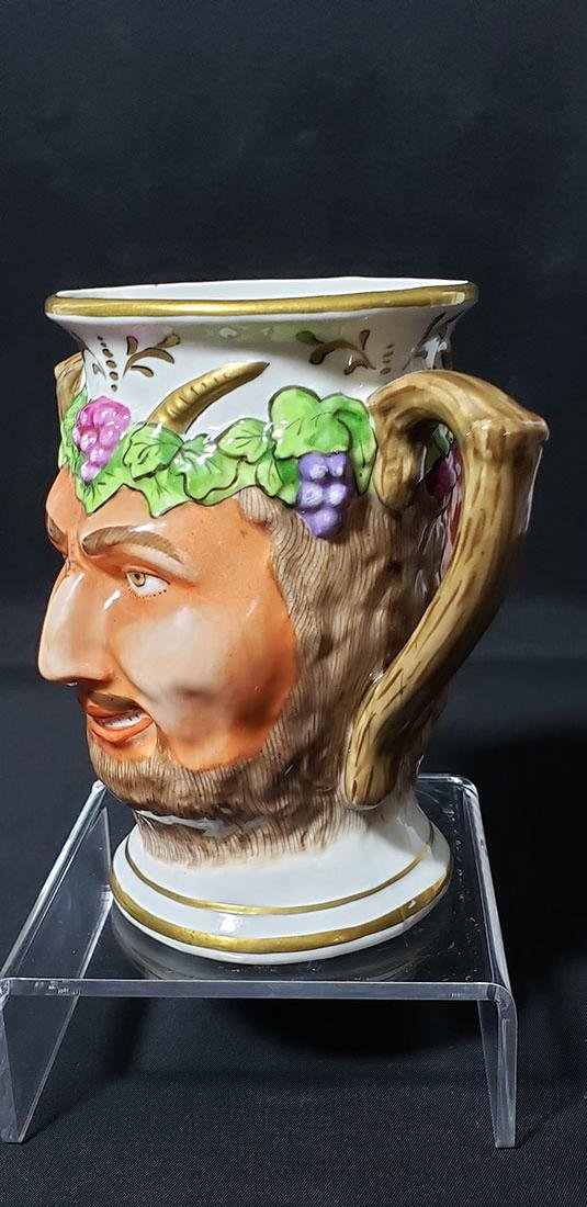 "Antique Porcelain Cup Of Satyr""s Face 19 c Sitzendorf - 8"
