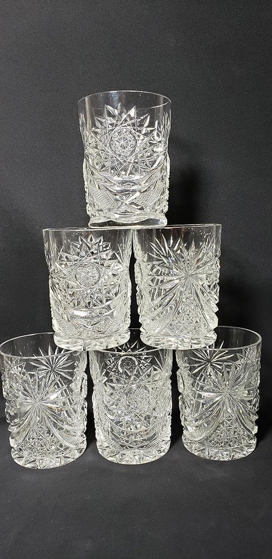 Lot 6 American Brilliant Period Cut Glass Tumblers