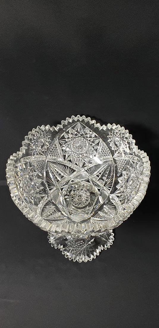 2 Pc American Brilliant Period Cut Glass Bowl On Stand