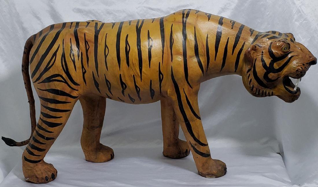 Large Vintage Tiger Leather Over Wood