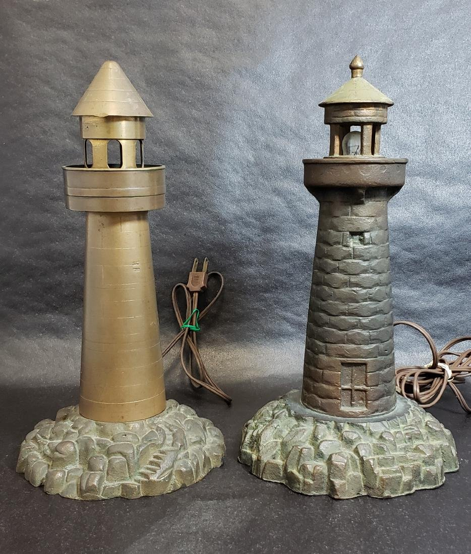 Arts & Crafts Bronze Lighthouse Lamps
