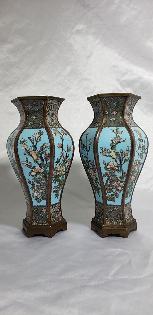 Pair Of Antique Enamel Cloisonne Vases