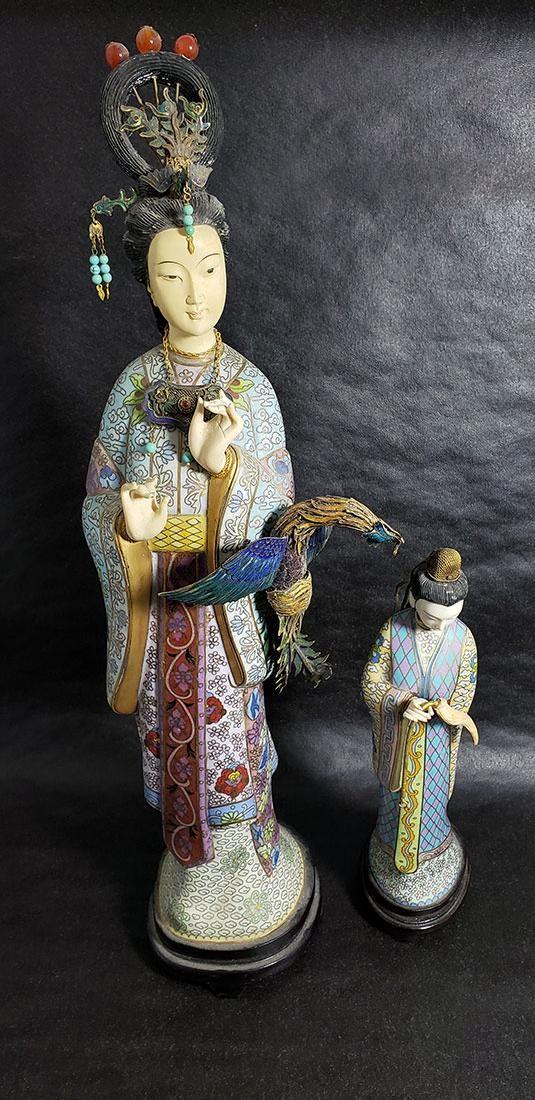Lg Chinese Sterling Enamel Cloisonne Figures