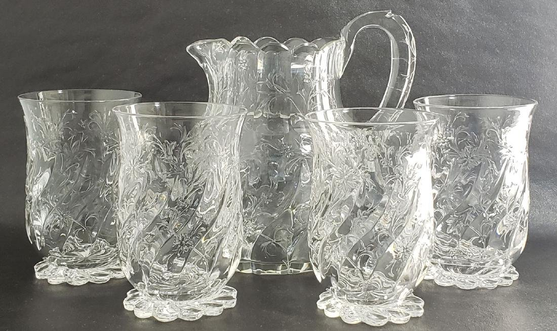 American Brilliant Pd Rock Crystal Pitcher W/Tumblers