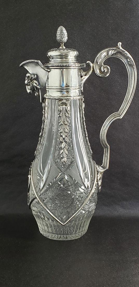 American Brilliant Period  Ewer With Silver Top