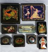 Lot 9 Hand Painted Russian Lacquer Boxes, signed
