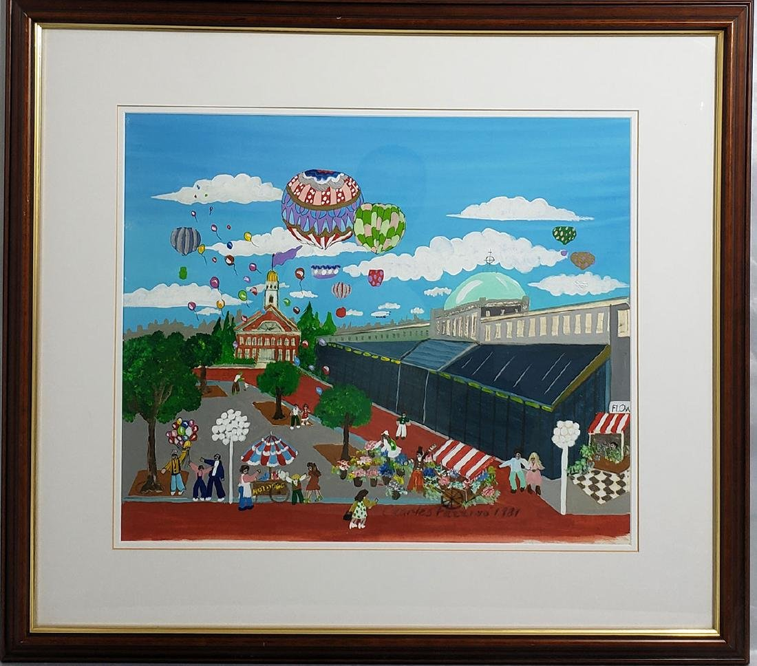 Signed Charles Fazzino Painting 1981 Quincy Market Pl