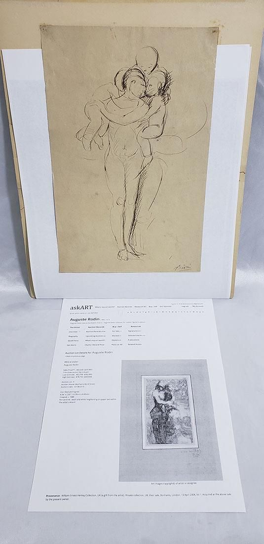 Auguste Rodin (1840 - 1917) Ink on Paper Signed