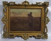 Antique Shepherdess Painting Attr To J.Francois Millet