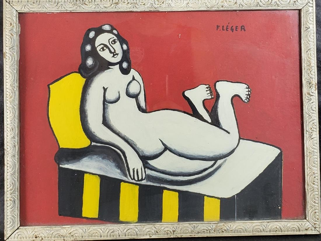 Signed F Leger Nude Study Gouache painting with Labels