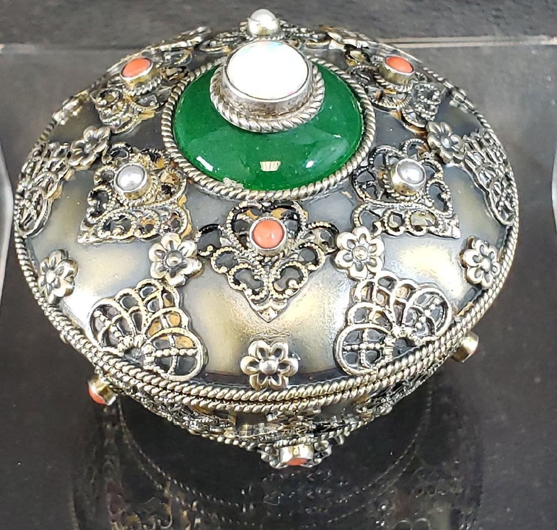 Fine Sterling Box w/ Jadeite Opal Pearls & Corals 82 G