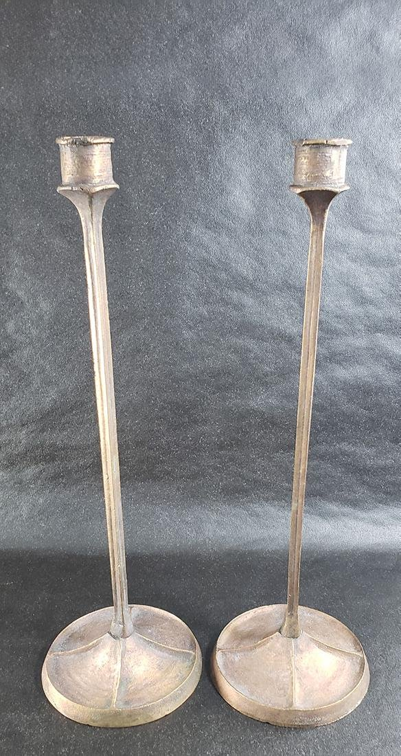 Signed E.T Hurley Bronze Candle Sticks Listed Artist