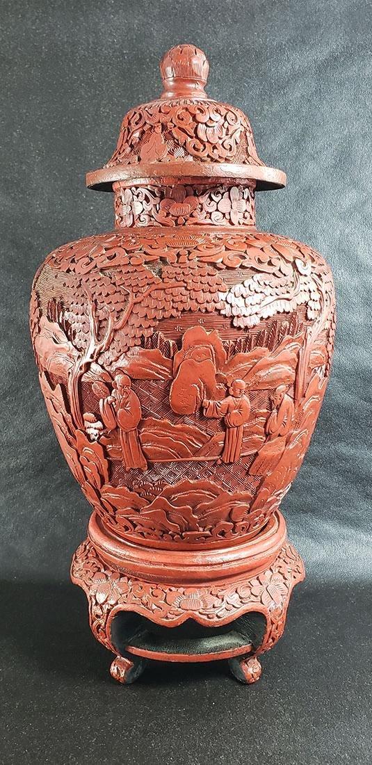 Antique Chinese Cinnabar Vase On Stand 19 C